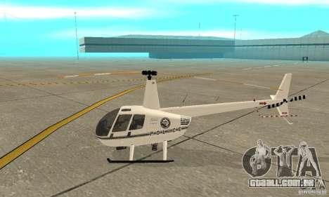 Robinson R44 Raven II NC 1.0 branco para GTA San Andreas traseira esquerda vista