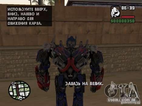 Optimus Prime para GTA San Andreas quinto tela