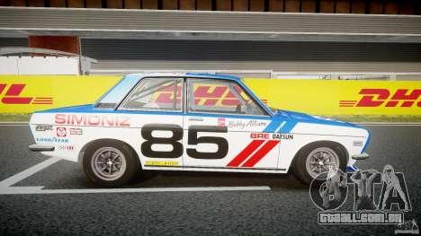 Datsun Bluebird 510 1971 BRE para GTA 4 vista de volta