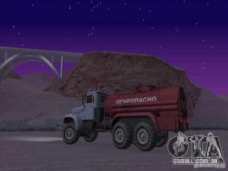 Caminhão de combustível KrAZ-255 para GTA San Andreas esquerda vista