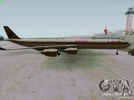 Airbus A-340-600 Quatar para GTA San Andreas esquerda vista