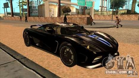 Koenigsegg Agera 2010 para GTA San Andreas vista traseira