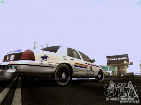 Ford Crown Victoria Canadian Mounted Police para GTA San Andreas vista direita
