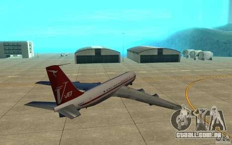 Qantas 707B para GTA San Andreas vista traseira