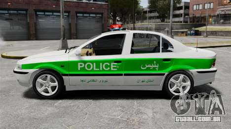Iran Khodro Samand LX Police para GTA 4 esquerda vista
