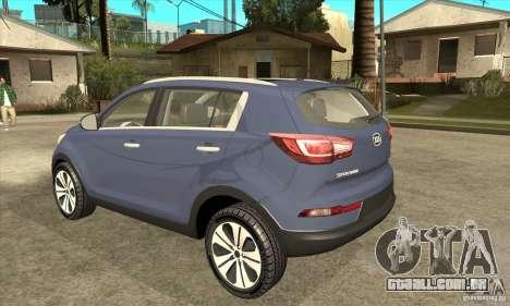 Kia Sportage 2011 HKV para GTA San Andreas traseira esquerda vista