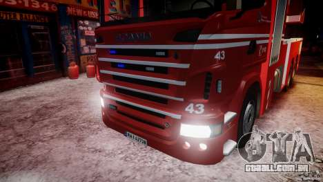 Scania Fire Ladder v1.1 Emerglights blue-red ELS para GTA 4 vista inferior