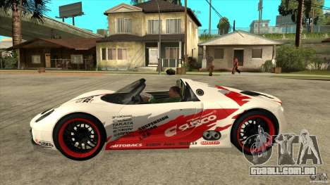 Porsche 918 Spyder Consept para GTA San Andreas esquerda vista