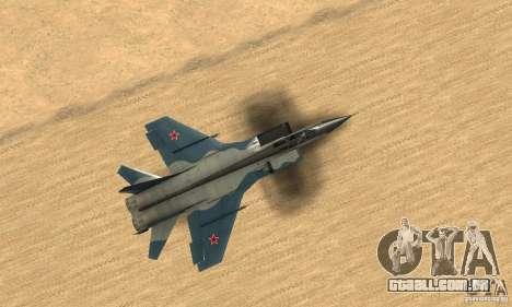 MiG-31 Foxhound para GTA San Andreas vista direita