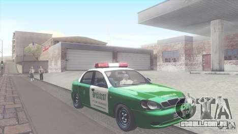 Daewoo Lanos De Carabineros De Chile para GTA San Andreas vista traseira