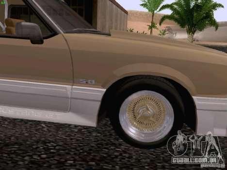 Ford Mustang GT 5.0 Convertible 1987 para GTA San Andreas vista traseira