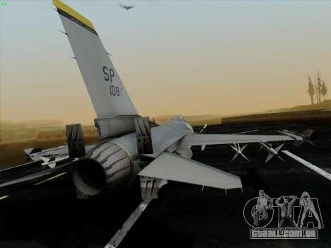 F-16C Warwolf para GTA San Andreas traseira esquerda vista