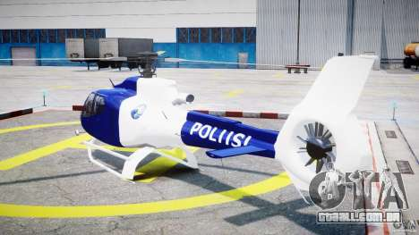 Eurocopter EC 130 Finnish Police para GTA 4 traseira esquerda vista