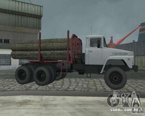 Transportador de madeira KrAZ-255 para GTA San Andreas vista traseira
