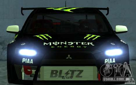 Mitsubishi Lancer Evolution X Monster Energy para GTA San Andreas vista direita