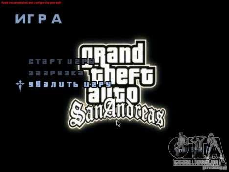 Uma tela de vídeo no menu principal para GTA San Andreas