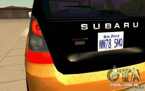 Subaru Forester Cross Sport 2005 para GTA San Andreas vista interior