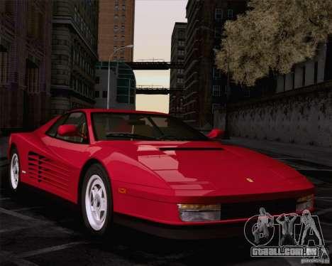 Ferrari Testarossa 1986 para GTA San Andreas traseira esquerda vista