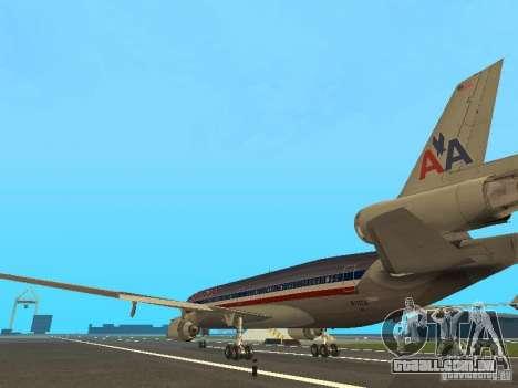 McDonell Douglas MD11 American Airlines para GTA San Andreas traseira esquerda vista