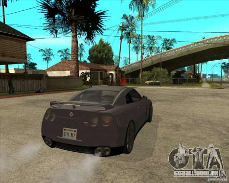 2008 Nissan GTR R35 para GTA San Andreas traseira esquerda vista