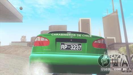 Daewoo Lanos De Carabineros De Chile para GTA San Andreas vista direita