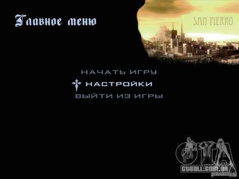 Novas imagens do menu para GTA San Andreas