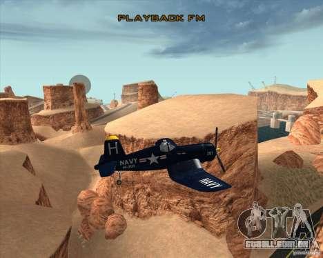 Aereo Corsair F4U1D para GTA San Andreas vista interior