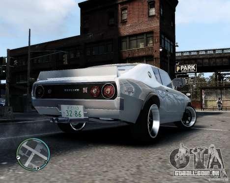 Nissan Skyline KPGC110 2000GT-X para GTA 4 vista direita