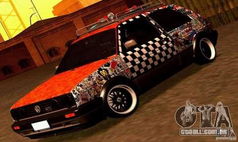 Volkswagen MK II GTI Rat Style Edition para GTA San Andreas traseira esquerda vista