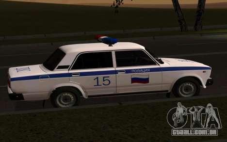 Polícia de 2107 VAZ para GTA San Andreas esquerda vista