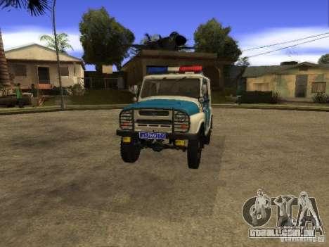 UAZ 31519 polícia para GTA San Andreas vista direita