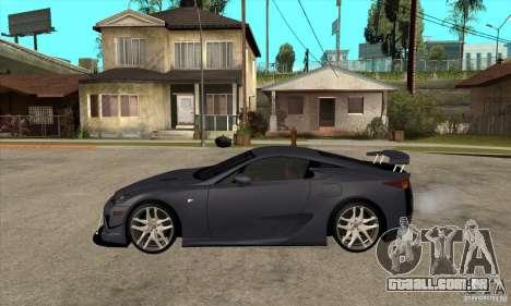 Lexus LFA 2010 v2 para GTA San Andreas esquerda vista