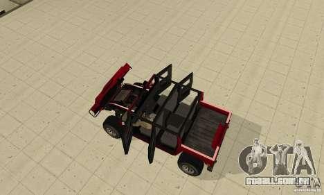 Hummer Civilian Vehicle 1986 para GTA San Andreas vista traseira