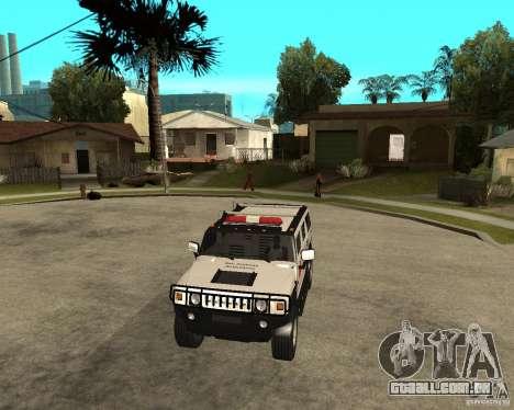 AMG H2 HUMMER - RED CROSS (ambulance) para GTA San Andreas vista traseira