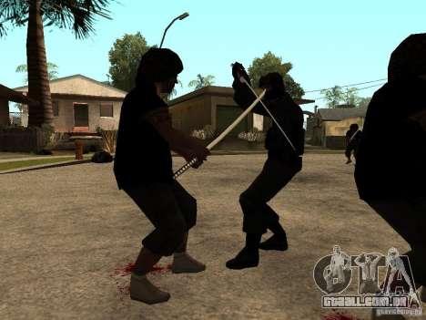 A luta com o katanas na Grove Street para GTA San Andreas terceira tela