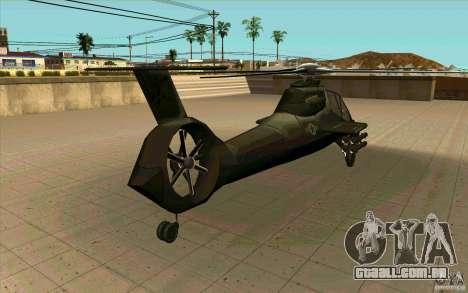 Sikorsky RAH-66 Comanche stealth green para GTA San Andreas vista traseira