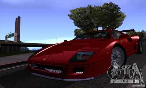 Ferrari F40 GTE LM para vista lateral GTA San Andreas