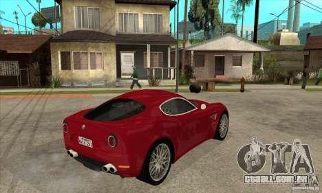 Alfa Romeo 8 c Competizione estoque para GTA San Andreas vista traseira