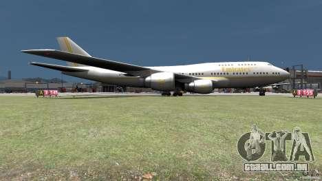 Real Emirates Airplane Skins Gold para GTA 4 traseira esquerda vista