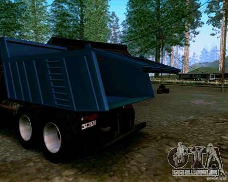 Caminhão KAMAZ 6520 para GTA San Andreas vista interior