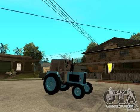 Tractor Belarus 80,1 e reboque para GTA San Andreas vista direita