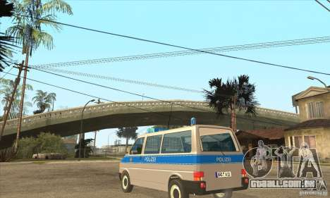 Volkswagen Transporter T4 German Police para GTA San Andreas traseira esquerda vista