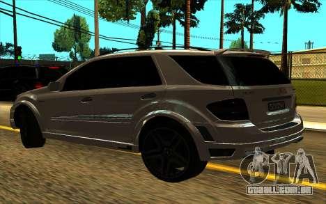 Mercedes-Benz ML63 AMG W165 Brabus para GTA San Andreas traseira esquerda vista