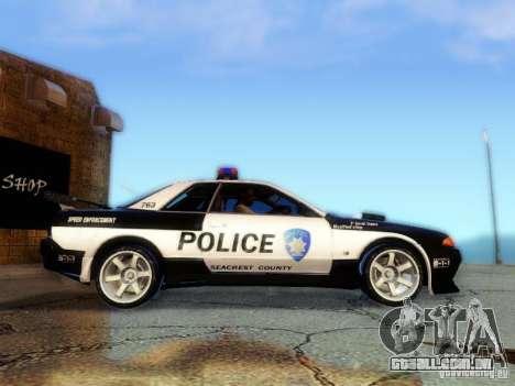 Nissan Skyline R32 Police para GTA San Andreas traseira esquerda vista