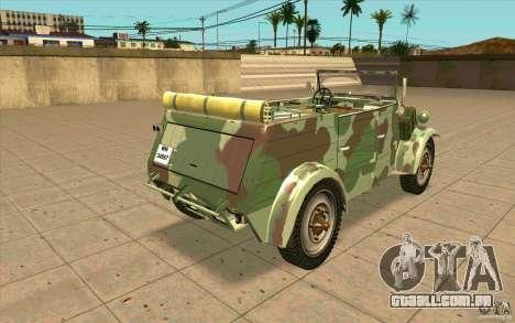 Kuebelwagen para GTA San Andreas traseira esquerda vista