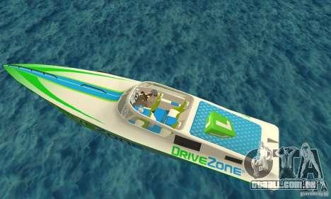Speed Motorboat para GTA San Andreas vista traseira