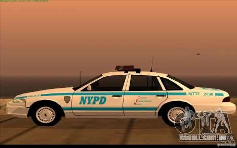 Ford Crown Victoria 1992 NYPD para GTA San Andreas esquerda vista
