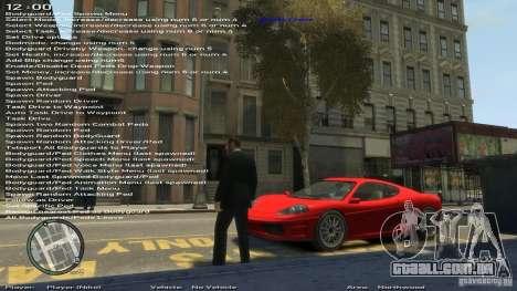 Simples Trainer versão 6.2 para 1.0.1.0-1.0.0.4 para GTA 4 segundo screenshot