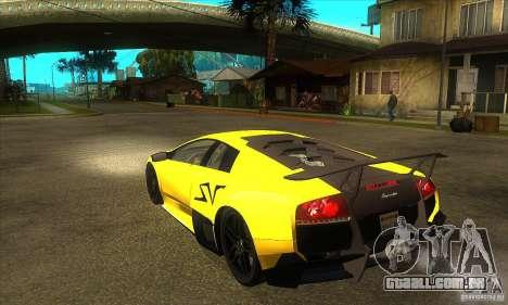 Lamborghini Murcielago LP 670 SV para GTA San Andreas traseira esquerda vista