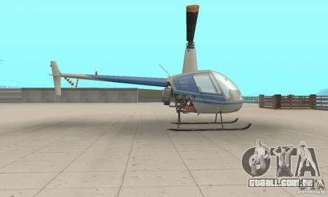 Robinson R22 para GTA San Andreas traseira esquerda vista